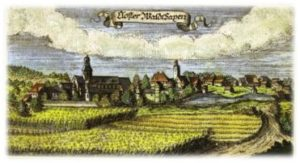 Kloster Waldsassen mit angelegten Teichen im 17. Jahrhundert
